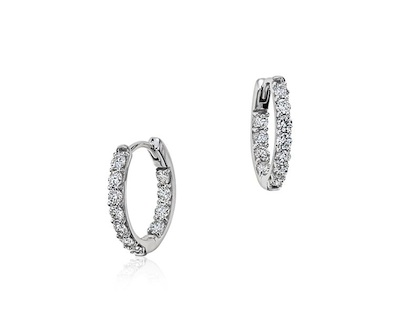 Monique Lhuillier 18kt white-gold diamond hoop earrings, $1,170 at BlueNile.com.