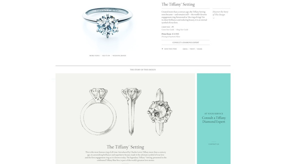 The new tiffany.com offers new retina images and extensive diamond-shopping services for its consumers.