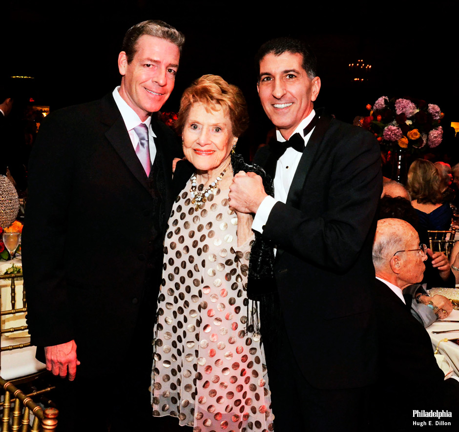 The evening was a reunion of former dancers, current dancers, and supporters of the ballet over the past 50 years. The highlight was a tribute to visionary Barbara Weisberger, who founded the Pennsylvania Ballet in 1962 and led the nationally renowned company for twenty years. Artistic director Roy Kaiser (left), Barbara Weisberger and executive director Michael Scolamiero of Pennsylvania Ballet
