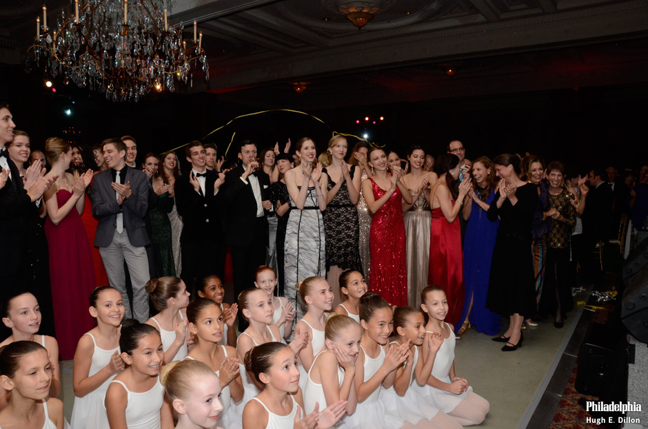 The current, alumni and the future Pennsylvania Ballet company applaud the accomplishments of Pennsylvania Ballet Founder Barbara Weisberger, who is on stage.