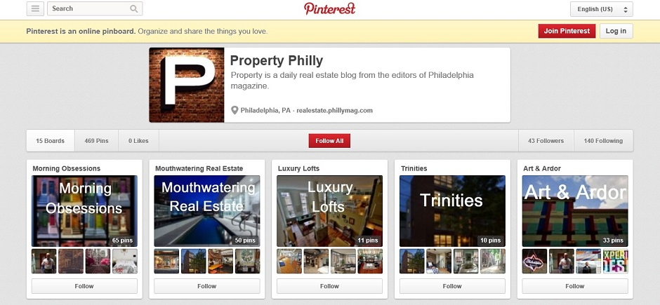 Screenshot of Property's Pinterest page
