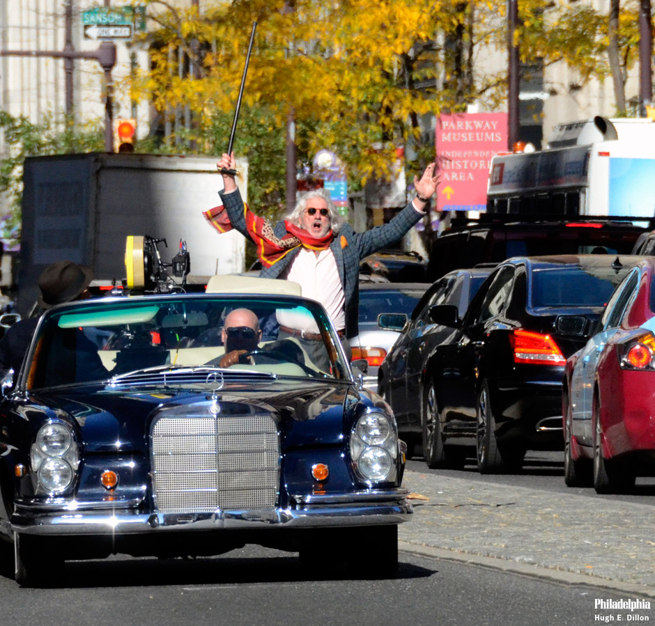 Richard Gere films Franny on Broad Street this afternoon, in front of the Bellevue Hyatt