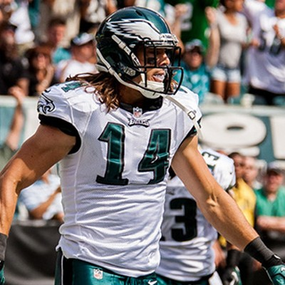 Eagles WR Riley Cooper in endzone against Chargers