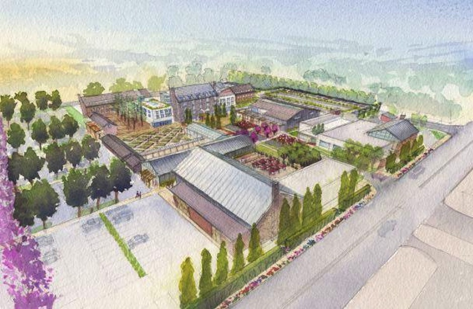 An artist's rendering of preliminary plans for Urban Outfitters' $100 million Devon Yard complex, as viewed from the northeast. (Image courtesy of Urban Outfitters)