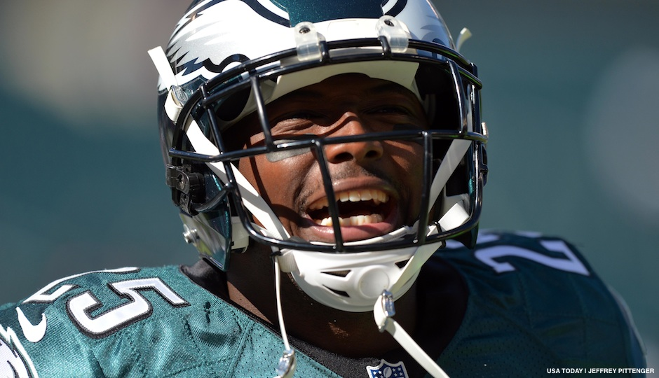 October 20, 2013; Philadelphia, PA, USA; Philadelphia Eagles running back LeSean McCoy (25) yells at Dallas Cowboys fans before the game at Lincoln Financial Field. Mandatory Credit: Jeffrey Pittenger-USA TODAY Sports