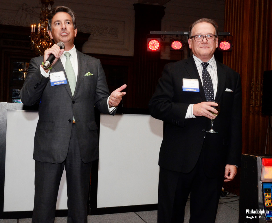 Wednesday night Zarwin Baum DeVito Kaplan Schaer Toddy P.C. partnered with Citrin Cooperman for the second annual Celebrity Casino Night at the Crystal Tea Room. Co-host of the evening, <strong>Mark S. Carrow</strong>, managing partner of Citrin Cooperman, greets the guests as co-host Mitchell S. Kaplan, managing shareholder of Zarwin Baum, looks on. The event drew nearly 400 people to mingle with local celebrities while playing poker, blackjack, roulette and craps.