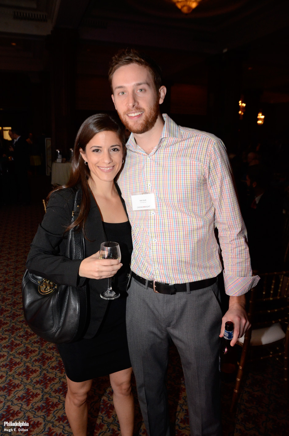 Below: Dana Bello and Kyle Scott of CrossingBroad.com. I think I saw Kyle hovering over his bid for the Scott Hartnell hockey stick all night–thus ensuring a win by him.