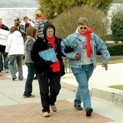 Barbara (left) and Cathy at a 2008 demonstration outside Lehigh Co. Courthouse. Photo courtesy of Express-Times.