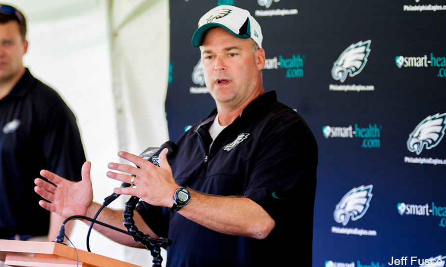 Eagles Defensive Coordinator Bill Davis Explaining to Press