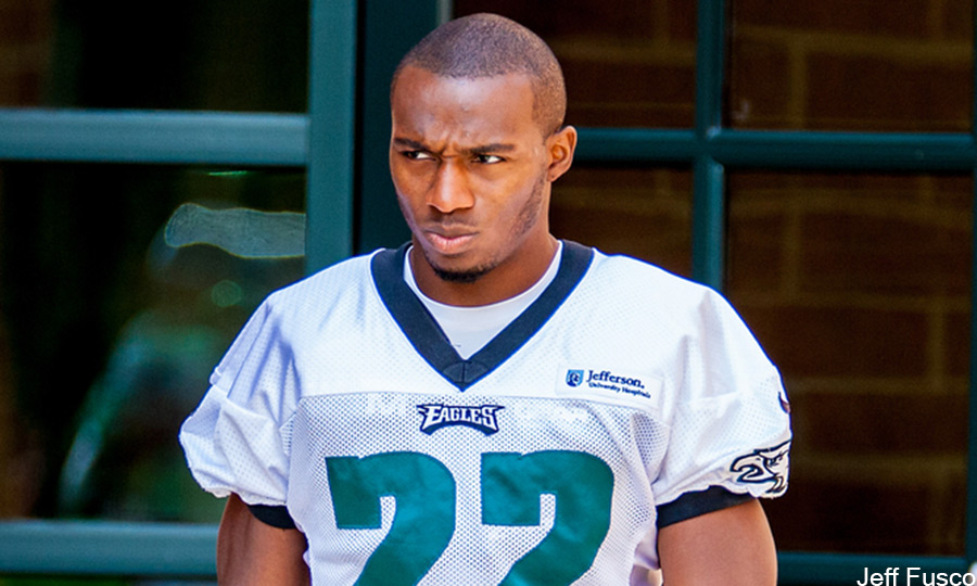 Eagles Cornerback Brandon Boykin watches helmet off