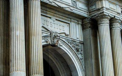 """Justice"" engraved on Philadelphia's City Hall"