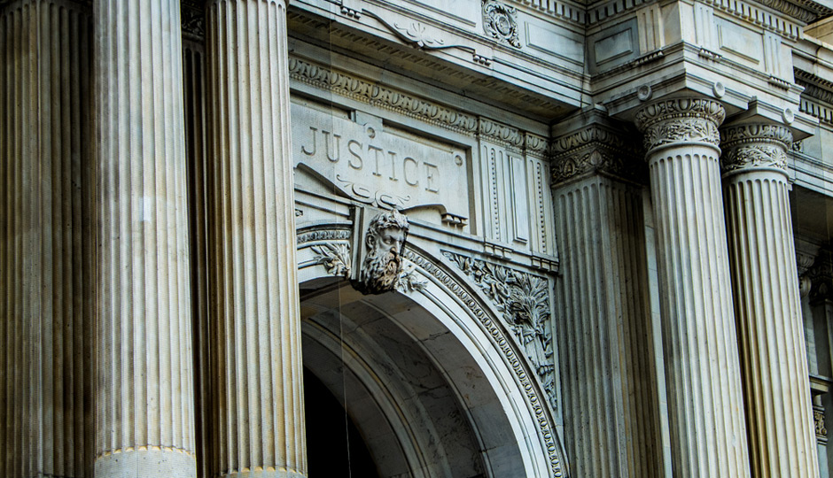 """Justice"" engraved on Philadelphia's City Hall"