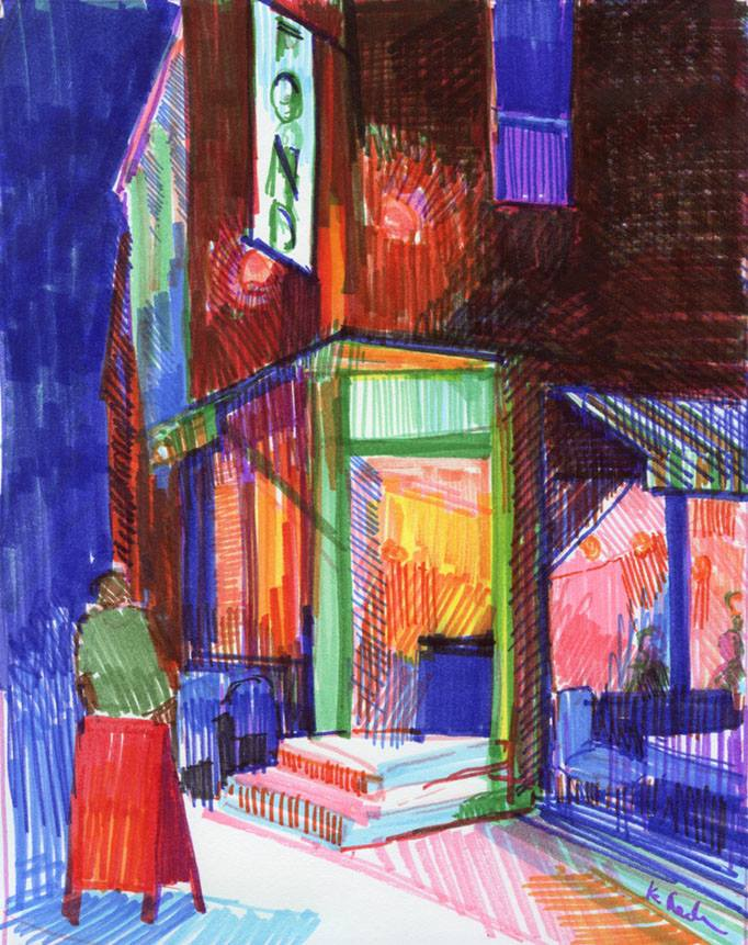 Fond Night, Crayola SuperTips on paper - By Mundie Art