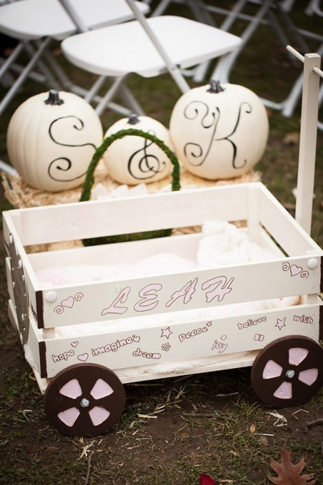 hand-painted wagon for the flower girl.