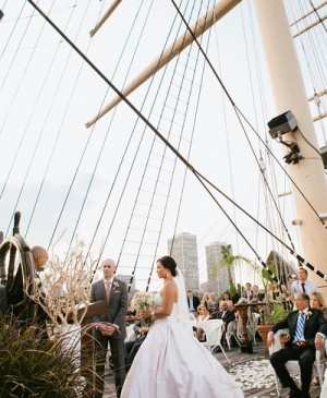 Following a traditional Chinese tea ceremony in their suite at the Hyatt Regency Philadelphia at Penn's Landing with both of their families present, the bride changed into her blush Lea-Ann Belter gown, and Lee and Tim tied the knot on the Chart House deck of the Moshulu on the Delaware River.