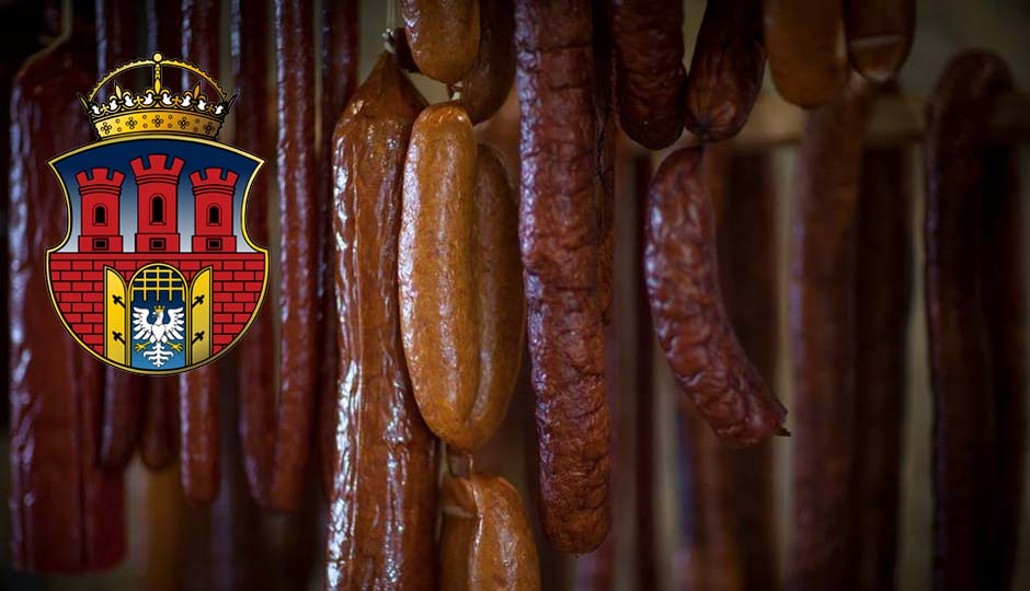 Kielbasa hanging in the Royal Cracovia smoker.