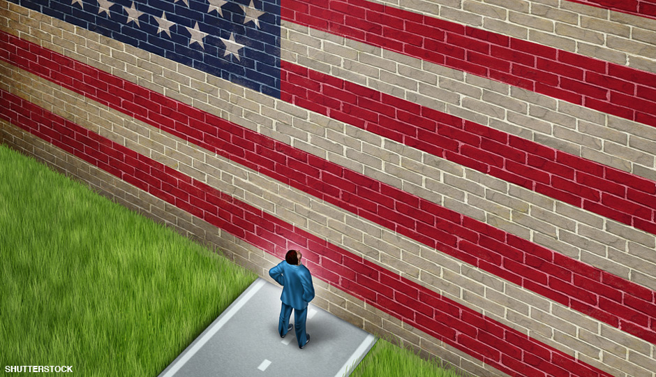 American Flag as a brick wall