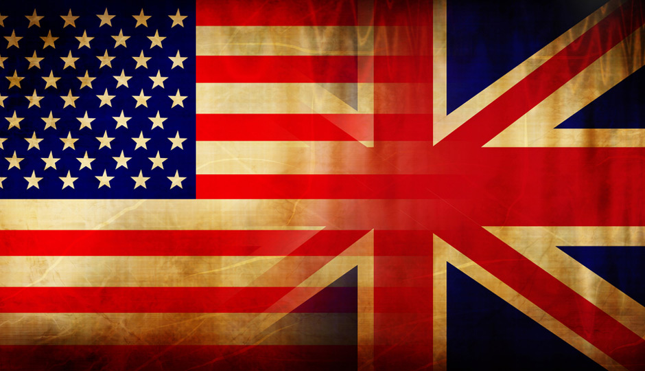 united states flag and united kingdom flag merging
