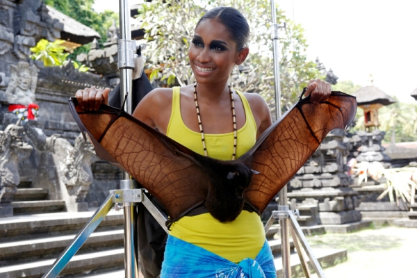 Renee poses with a Balinese bat.