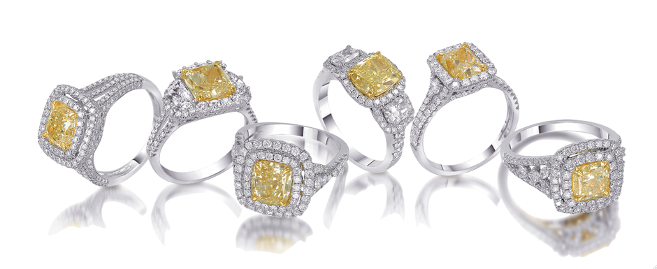 The new yellow diamond engagement ring collection from Bernie Robbins Jewelers.