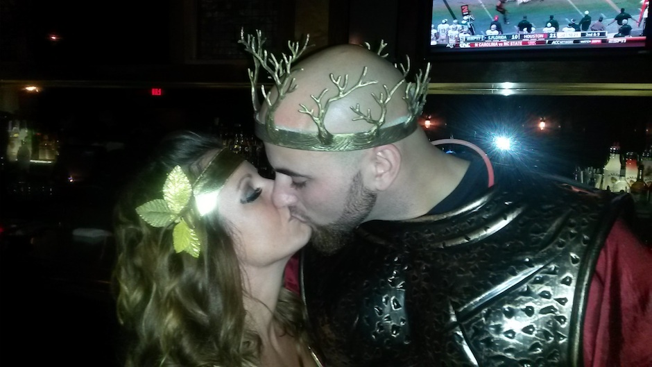 Marc and Tara, who got engaged at Philadelphia Runner's Halloween Urban Scramble after-party at Ladder 15.