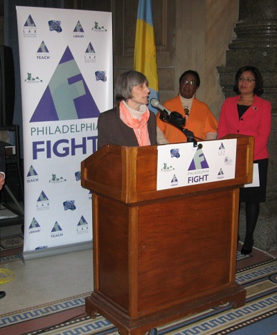 Philly FIGHT Executive Director Jane Shull and councilwomen Maria Quinones-Sanchez and Marian Tasco announce a new HIV clinic at a City Hall press conference this morning.