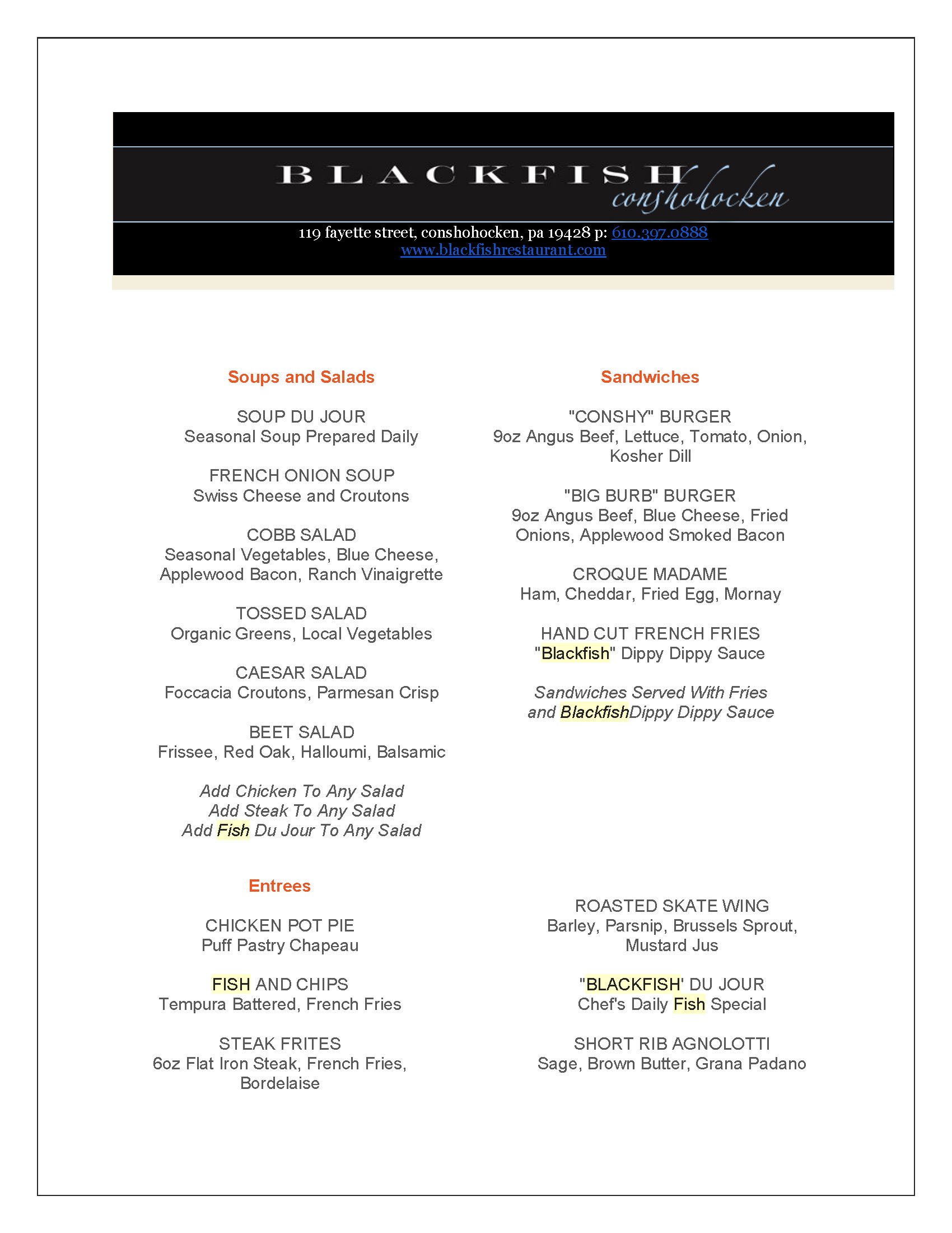 blackfish lunch menu
