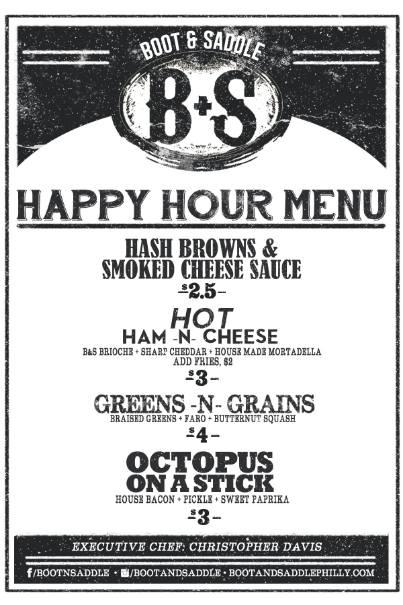 boot and saddle happy hour menu