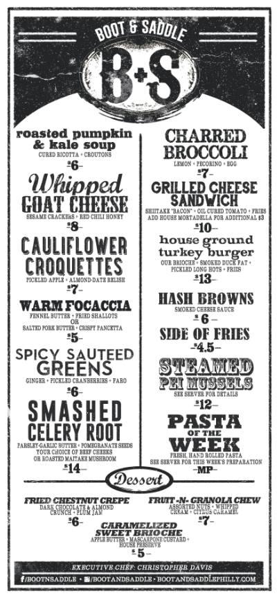 boot and saddle new menu
