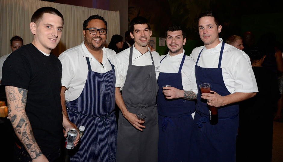 From left: <strong>Mike Griffiths</strong> of Fork, <strong>Kevin Sbraga</strong> of Sbraga, chef <strong>Jon Cichon</strong> of Lacroix, and <strong>Ed Konrad</strong> and chef <strong>Nicholas Elmi</strong> of Laurel.