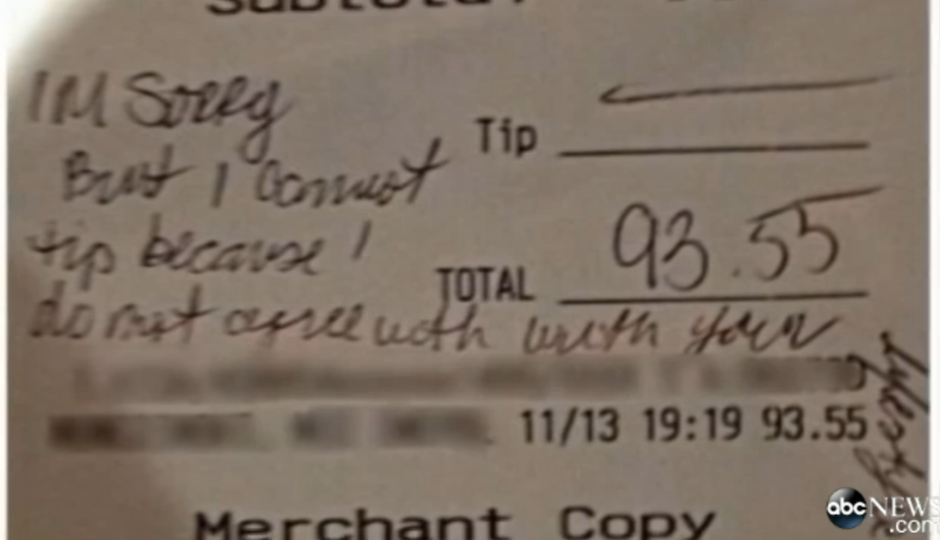 N J  Waitress Homophobic Receipt Called Into Question