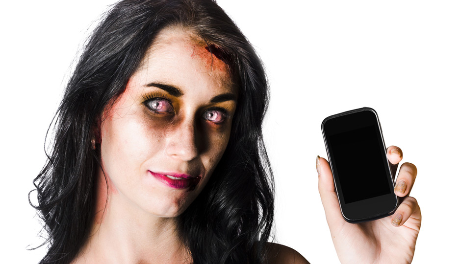 zombie with cell phone