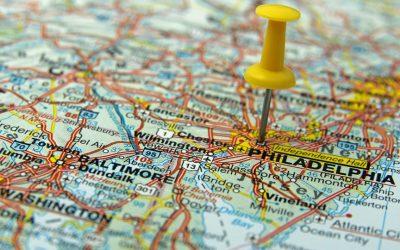 Philadelphia regional map with push pin