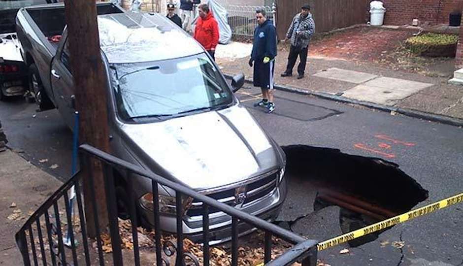 Sinkhole on 900 block of  North Randolph Street Photo Credit: 6ABC Local
