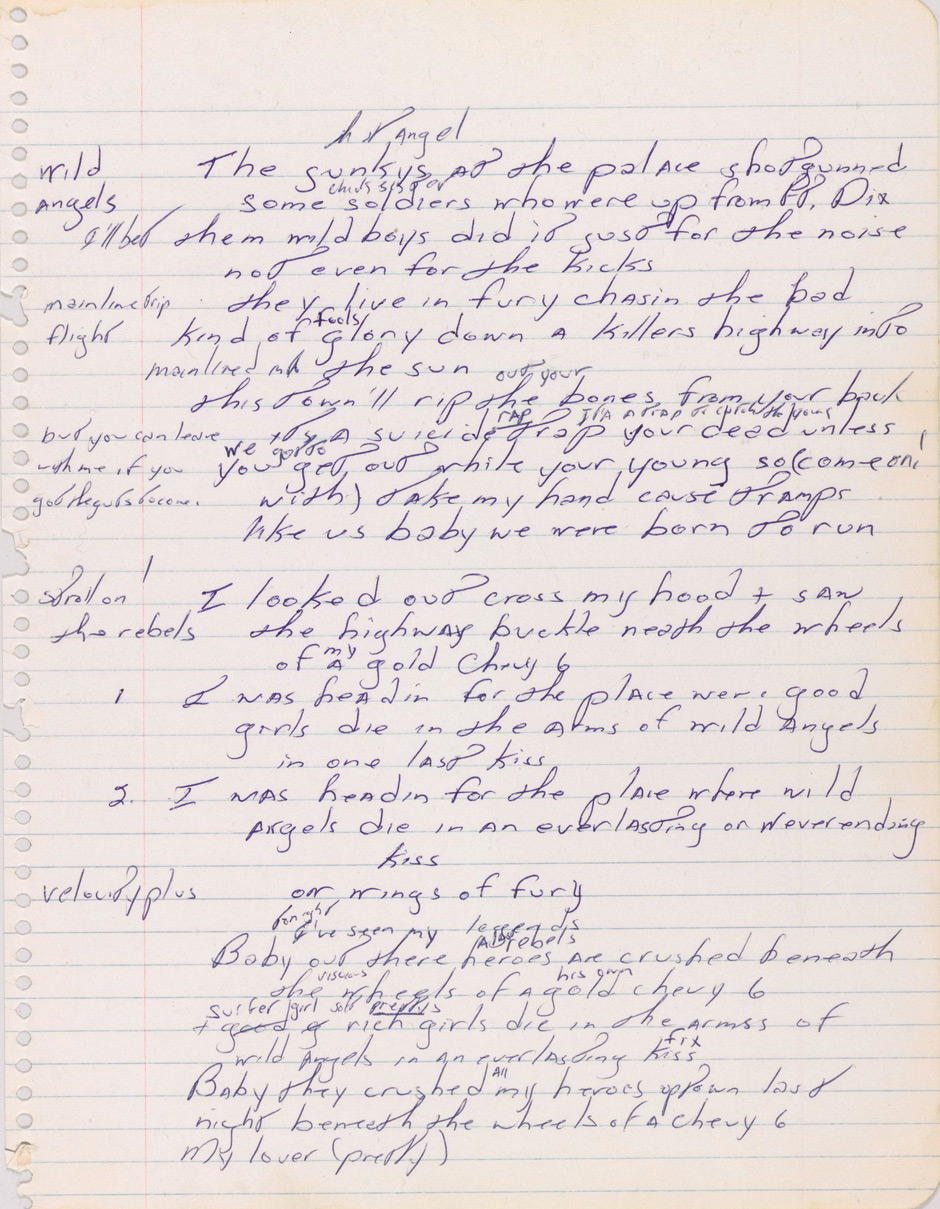 """A handwritten working manuscript of rock star Bruce Springsteen's 1975 hit Born to Run, worth around GBP 62,000, will be auctioned next week. The early manuscript of the song, which catapulted Springsteen to stardom, will be auctioned by Sotheby's in New York on December 5. The lyrics have been written by The Boss in blue ink on a single 8 1/2 by 11 inch sheet of ruled notepaper. Springsteen's first two albums - Greetings from Asbury Park, N.J. and The Wild, the Innocent & the E Street Shuffle - received critical acclaim but modest commercial success. As such, the 26-year-old Springsteen found his career hinging on the success of his next single. However, he needn't have feared as Born to Run was a breakout smash and became his first worldwide release The song took six months to finalise and clocks in at four and a half minutes long. Sotheby's says most of the 30 lines in the 1974 version are apparently unpublished and unrecorded, but does include a """"near perfected chorus."""" It captures for the first time the famous lines: """"This town'll rip the (out your) bones from yourback / it's a suicide trap (rap) (it's a trap to catch the young) your dead unless / you get out (we gotto) while your young so (come on! / with) take my hand cause tramps / like us baby we were born to run."""" The handwritten manuscript, which was written in Long Branch, New Jersey, is said to be """"in fine condition"""" and also includes notes in the margins. It has been in the collection of Springsteen's former manager Mike Appel. The presale estimate is between GBP 43,000 and GBP 62,000 ($70,000 to $100,000). The document will be part of a Manhattan sale of fine books and manuscripts. In 2013, after nearly four decades of performing the career defining hit, Rolling Stone Magazine ranked """"Born to Run"""" Springsteen's great... For more information visit http://www.rexfeatures.com/stacklink/KAYXYSEHJ (Rex Features via AP Images)"""