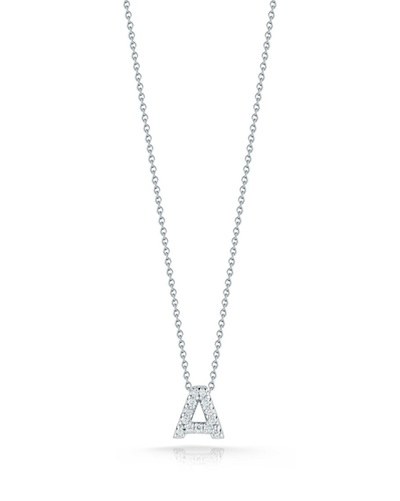 The Roberto Coin Tiny Treasures diamond Love Letter necklace.