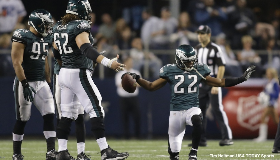 Dec 29, 2013; Arlington, TX, USA; Philadelphia Eagles cornerback Brandon Boykin (22) celebrates with his teammates on the field after making an interception in the fourth quarter against the Dallas Cowboys at AT&T Stadium. The Eagle beat the Cowboys 24-22. Mandatory Credit: Tim Heitman-USA TODAY Sports