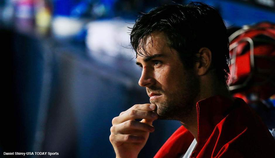 Philadelphia Phillies starting pitcher Cole Hamels (35) sits in the dugout in the first inning against the Atlanta Braves at Turner Field on Aug 12, 2013. Photo | Daniel Shirey-USA TODAY Sports