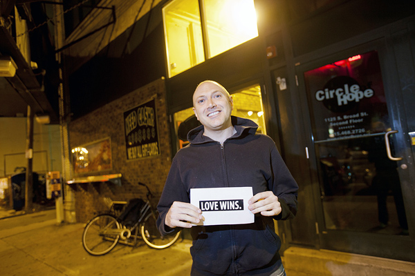 Andrew Stahler standing outside a Circle of Hope location on South Broad Street.