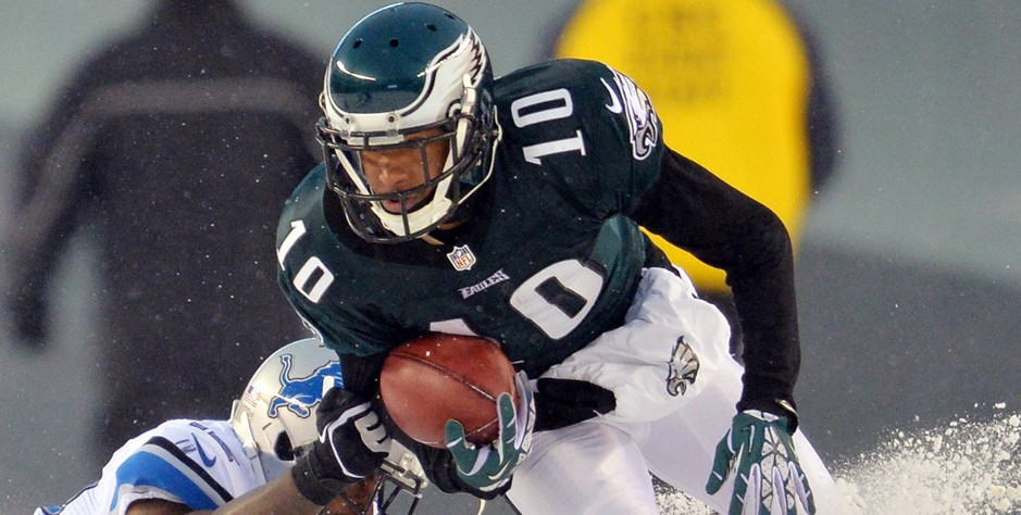 Eagles wide receiver DeSean Jackson (10) returns a punt return against the Detroit Lions during the fourth quarter of the Snow Bowl