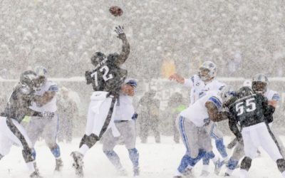 Lions quarterback Matthew Stafford (9) passes the ball during the first quarter against the Philadelphia Eagles at the Lincoln Financial Field Snow Bowl
