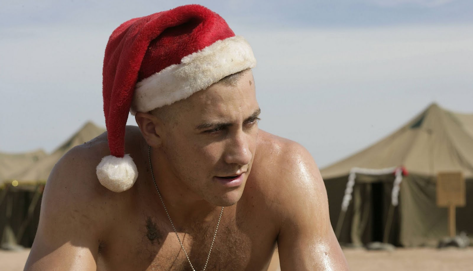 Jake Gyllenhaal makes sexy Santa in a scene from Jarhead.