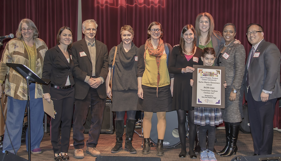 Bache-Martin Elementary School receives a $4,500 Picasso Project grant. Pictured L-R, Kathy O'Connell, Gretchen Elise Walker, Steven Segal, Jen MacNeill, Jocelyn Goldstein, Sharon DeSalvo, Annete Monnier, Yvette Duperon, Councilwoman Cindy Bass, Councilman David Oh.