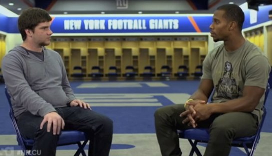 Arcadia University sophomore Joey Kemmerling talks with New York Giants wide receiver Victor Cruz about being bullied in middle school tonight on USA Network's TK.