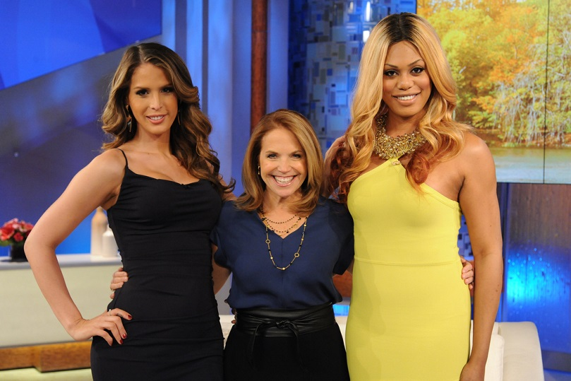 Carmen Carerra (far left) and Laverne Cox (far right) will be on Katie Couric's show today at 3 p.m.