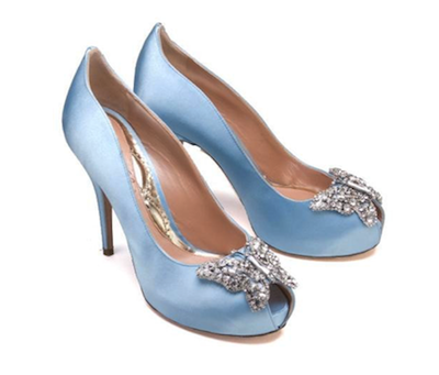 Aruna Seth Farfalla heel in powder blue satin.