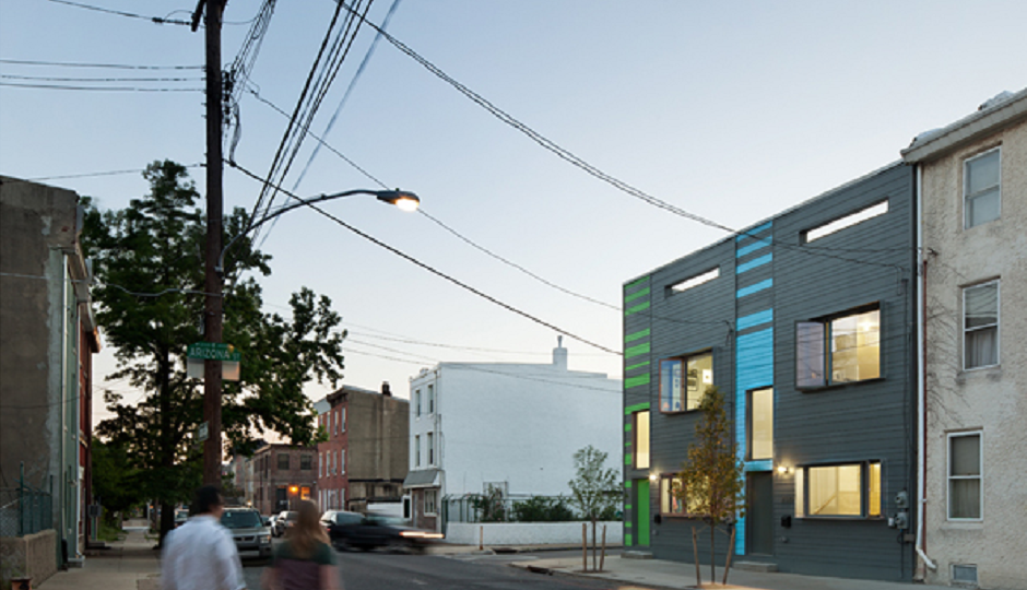 Side view of another building on Amber Street by Postgreen Homes. Photo credit: Postgreen Homes.