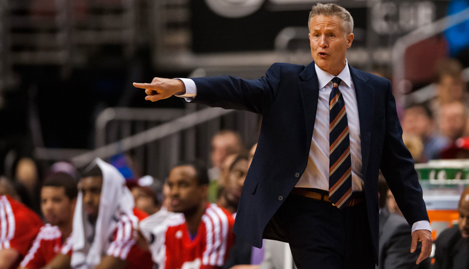 Jan 6, 2014; Philadelphia, PA, USA; Philadelphia 76ers head coach Brett Brown during the first quarter against the Minnesota Timberwolves at the Wells Fargo Center. The Timberwolves defeated the Sixers 126-95. Mandatory Credit: Howard Smith-USA TODAY Sports