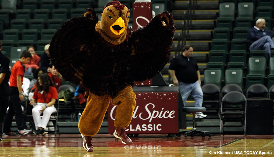 Nov 28, 2013; Orlando, FL, USA; Saint Joseph's Hawks mascot. The Hawk, during the second half against the LSU Tigers at ESPN Wide World of Sports. LSU Tigers defeated the Saint Joseph's Hawks 82-65. Photo | Kim Klement-USA TODAY Sports