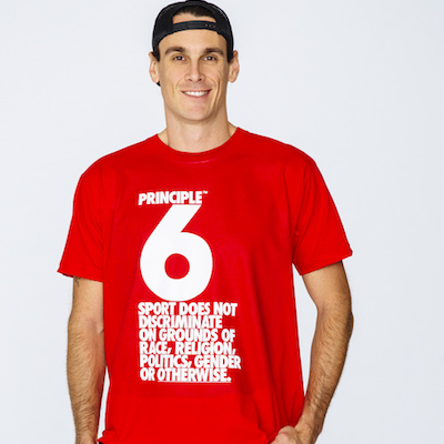 Former NFLer Chris Kluwe wearing an American Apparel tee to encourage diversity in sports just before the Sochi Olympics.